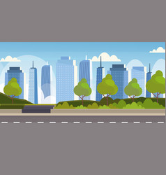 Asphalt highway road over city panorama high vector