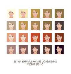 avatars women icons-01 vector image