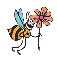 bee cartoon flying while carrying flowers vector image