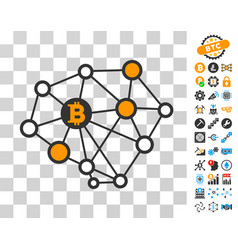bitcoin network structure icon with bonus vector image
