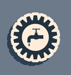 Black gearwheel with tap icon isolated on grey vector