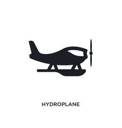 Black hydroplane isolated icon simple element vector