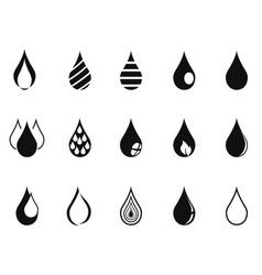 black simple drop icons vector image vector image