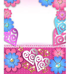 blank banner with paper cut hearts and flowers vector image