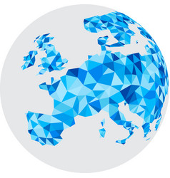 Blue mosaic europe on white globe vector