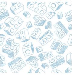 blue plastic bricks kit seamless pattern vector image