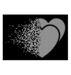Bright dissolved dotted halftone love hearts icon vector