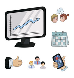 Business conference and negotiations cartoon icons vector