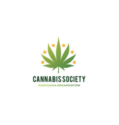 cannabis people society logo hemp leaf vector image