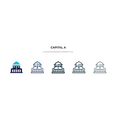 capital a icon in different style two colored vector image