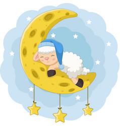 Cartoon basheep sleeping on moon vector