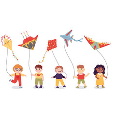 cartoon kids playing with paper flying kites toys vector image