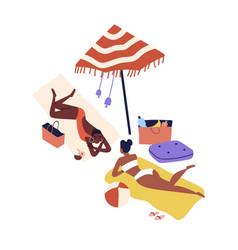 cartoon women friends sunbathing on beach vector image
