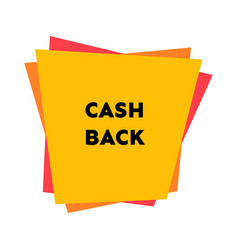 cash back sticker with abstract geometric forms vector image