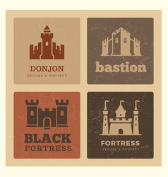 Castles fortress bastion label design vector