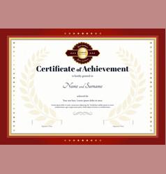 Certificate achievement template red border vector
