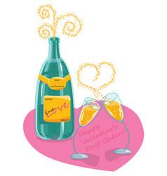 Champagne valentine day vector