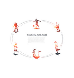 children outdoors - children playing football vector image