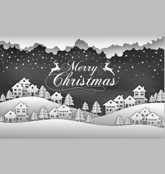 christmas black background with snow and house vector image