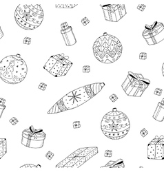 Christmas gifts seamless pattern in doodle style vector image