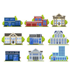 city street buildings public modern library vector image