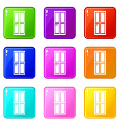 Closed wooden door icons 9 set vector