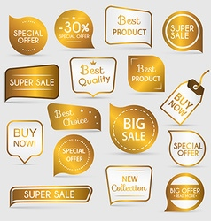 Collection of golden premium promo sealsstickers vector