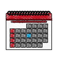 Color crayon stripe cartoon calendar with vector