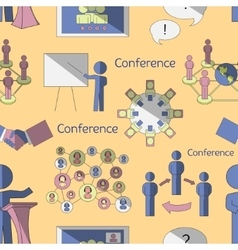 Conference icons pattern vector image