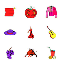 Country of spain icons set cartoon style vector