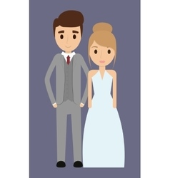 Couple cartoon wedding marriage icon vector