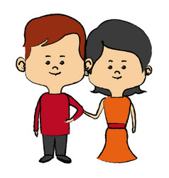 Couple of young people man and woman hold hands vector