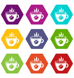 cup coffee icons set 9 vector image