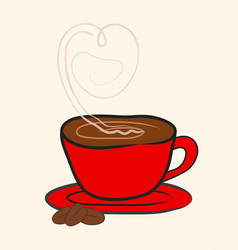 cup mug of hot drink coffee with heart shape vector image
