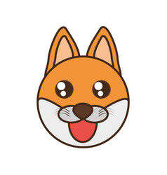 Cute fox face kawaii style vector