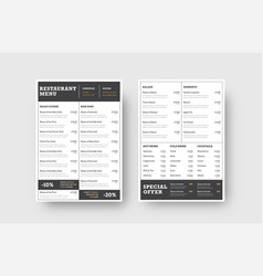 design the front and back pages of the menu for a vector image