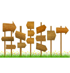direction wooden arrow set row vector image