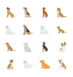 Dog species icons vector