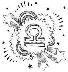 doodle pop astrology libra vector image