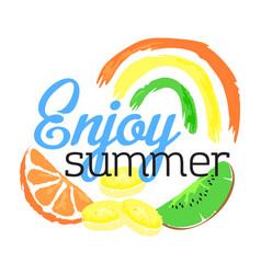Enjoy summer fruit sticker in watercolor style vector
