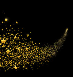 falling golden stars dust shooting star vector image