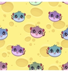 Fanny seamless pattern with little cartoon mice vector