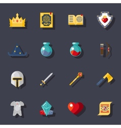 Fantasy game flat icons vector