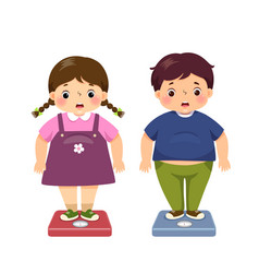 Fat kids checking their weight on scales vector