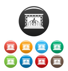 Fireplace icons set color vector
