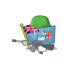Flag fiji isolated in army mascot vector