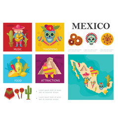 flat travel to mexico concept vector image