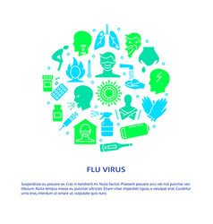 flu and influenza round concept banner in flat vector image