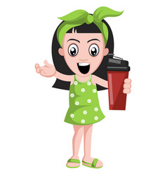 girl with red thermos on white background vector image
