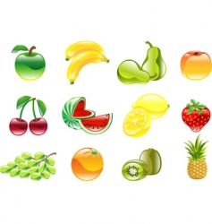 gorgeous shiny fruit icon set vector image